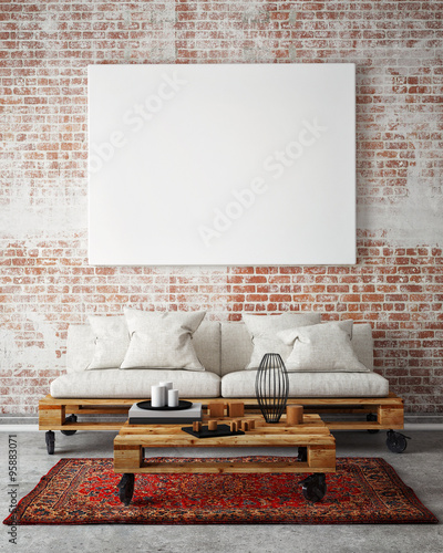 Mock Up Blank Poster On The Wall Of Livingroom 3D Illustration Background