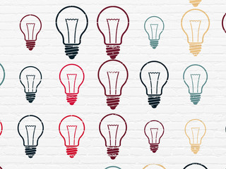 Business concept: Light Bulb icons on wall background