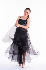 Fashion model black dress catalog shoot