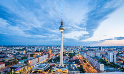 Berlin skyline with TV tower at twilight, Germany