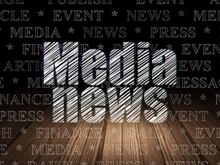 News concept: Media News in grunge dark room