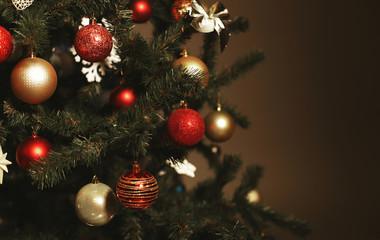 decorated Christmas tree. New Year celebrating