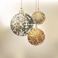 Vector illustration with christmas tree balls, Christmas Background