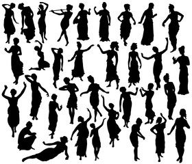 Silhouette of greek woman. Dancers, sculpture, statue.