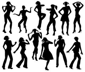 Twelve silhouettes of dancing girls