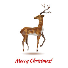 new year polygonal greeting card with deer
