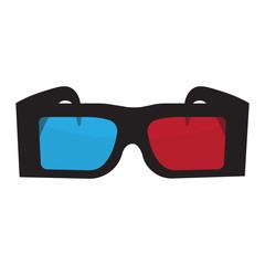 Image 3D glasses. Points have a black frame, red and blue lenses.