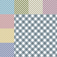 Vector gingham diagonal seamless pattern in eight different neutral colors. Isolated, easy editable