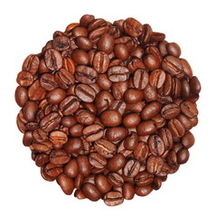 coffee beans isolated on white background, with clipping path