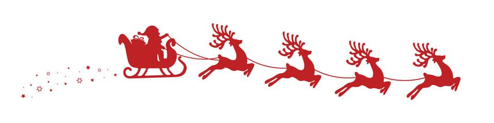 santa claus reindeer sleigh stars isolated background