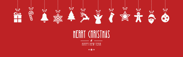 merry christmas ornaments hanging red background