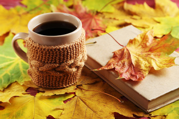 Autumn leaf with cup of coffee and book on a red wooden table