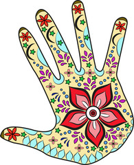 Decorated hand vector