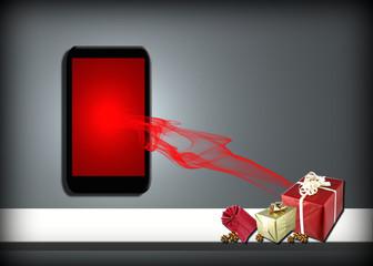 Smartphone, teléfono, móvil, regalo, compra, online, internet, Navidad, cajas de regalos