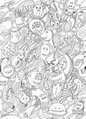 Seamless pattern of monsters.Abstract, cartoon design. world doodles and monsters. Black and white illustration. Outline illustration