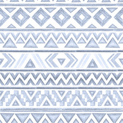Seamless ethnic tribal pattern. Drawing with pencils.