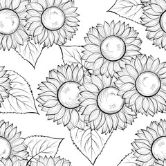 beautiful monochrome black and white seamless background with sunflowers. Hand-drawn contour lines and strokes.