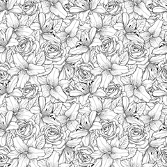 Beautiful seamless background with black and white lily and roses . Hand-drawn contour lines and strokes.