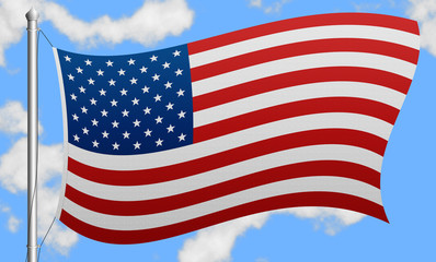 USA flag on a background of sky