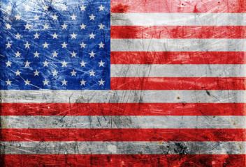 USA flag on old metall texture