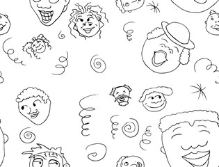 Outlined Pattern of Happy People