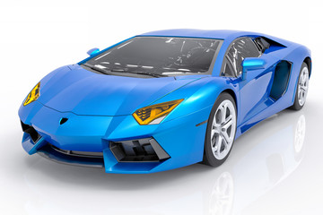 3D Isolated Blue Sport Car