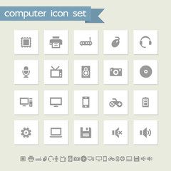 Computer icon set. Simple flat buttons
