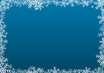 White snowflake frame on dark blue background
