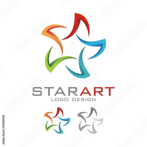 quot3d star five colors logo designquot stock image and royalty