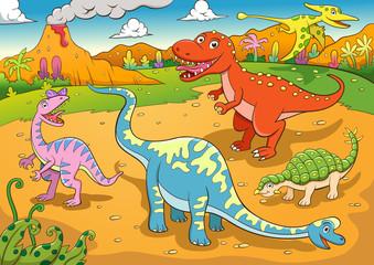Keuken foto achterwand Dinosaurs illustration of cute dinosaurs cartoon