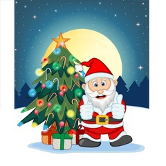 Santa Claus, Snow, Christmas Tree and Full Moon At Night For Your Design Vector Illustration
