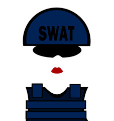 female swat team member