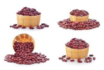 red beans in the basket isolated on white background