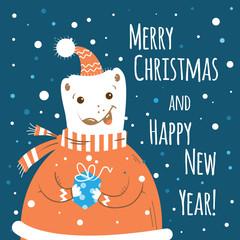 Christmas card with cartoon polar  bear holding a gift.