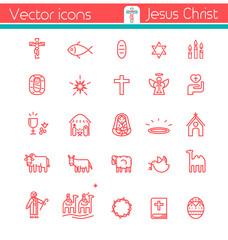 Jesus Christ,Vector icons.