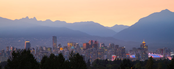Vancouver at Sunset / This photo was taken as the sun was going down.  This is looking north towards the city.  The north shore mountains can be seen in the background. Wall mural