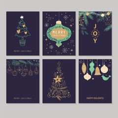 Holiday and Christmas hand drawing greeting card set. Isolated v