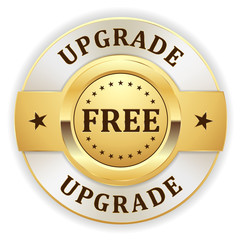 Gold free upgrade badge with white border