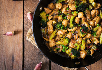 Stir fry chicken with broccoli and mushrooms - Chinese food.