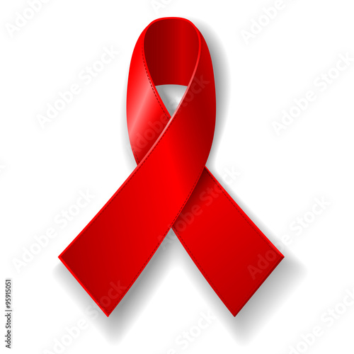World Aids Day Concept Poster With Red Ribbon Of Aids Awareness The