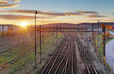 Door stickers Railroad Cargo Train platform at sunset. Railroad