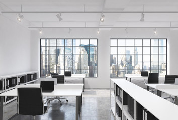 Workplaces in a bright modern loft open space office. Tables equipped with laptops; corporate documents' shelves. New York in the panoramic windows. 3D rendering.
