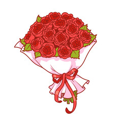 Bouquet of red roses isolated on white background.