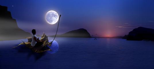 Dziewczyna, jezioro, księżyc, abstrakcja.