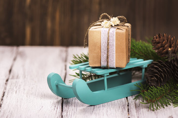 Christmas gifts, toned image. Vintage style. Selective focus
