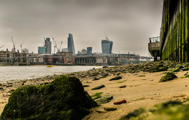 London Skyline viewed from the Thames beach