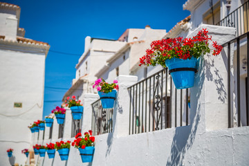Street with flowers in the Mijas town, Spain