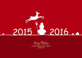 Rote Vektor Grußkarte für Weihnachten und Neujahr- Zeichen und Symbole, 2015 - 2016, Schneemann, Schneebälle - Rehkitz, Reh. Weihnachtskarte mit Freifläche für Text. Karte, Vorlage. Weinrot.