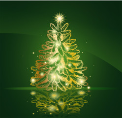 Modern golden Christmas tree