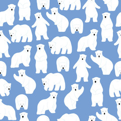 Polar bear pattern. Seamless pattern background.